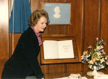 Margaret Thatcher visiting the school