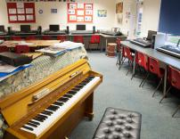 Music classroom, with keyboards connected to computers for composition